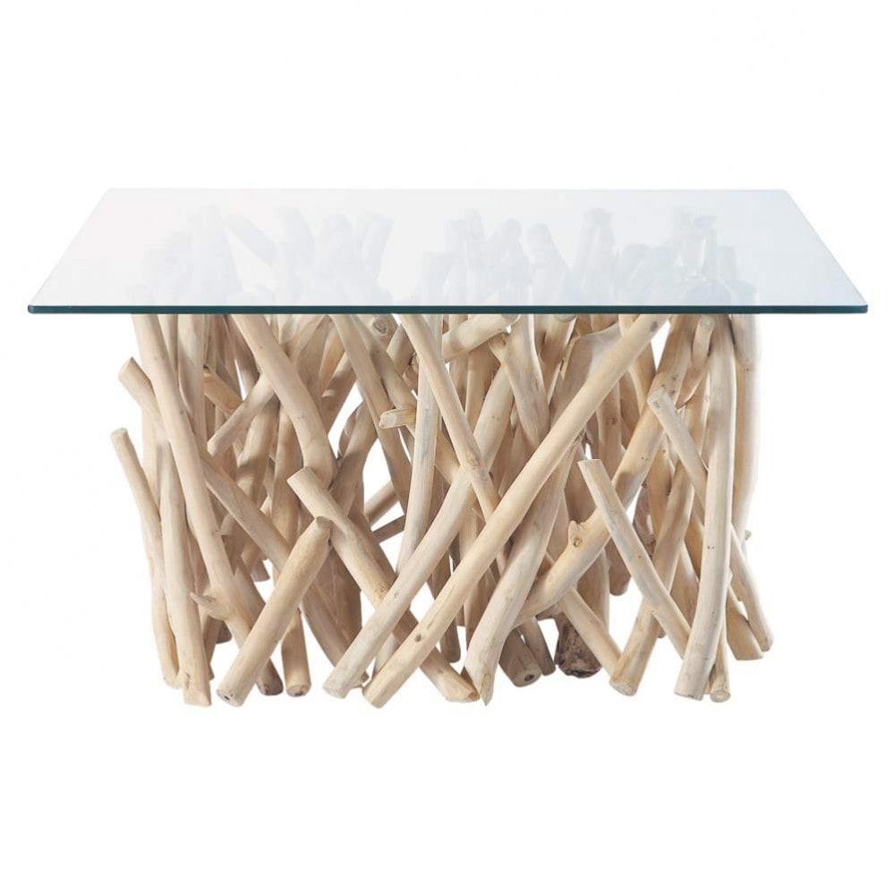 Mesa baja de cristal y teca an 90 cm rivage maisons du for Mesa cristal 90 cm