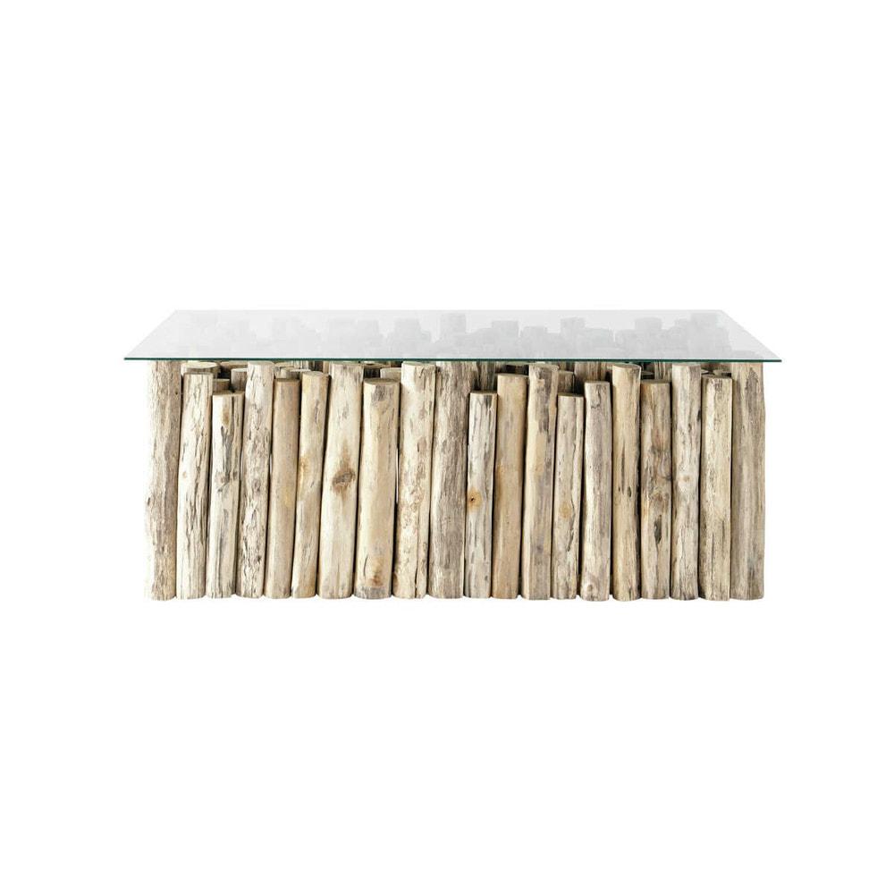 Mesa baja de cristal y teca efecto envejecido an 110 cm dune maisons du monde - Mesa baja cristal ...