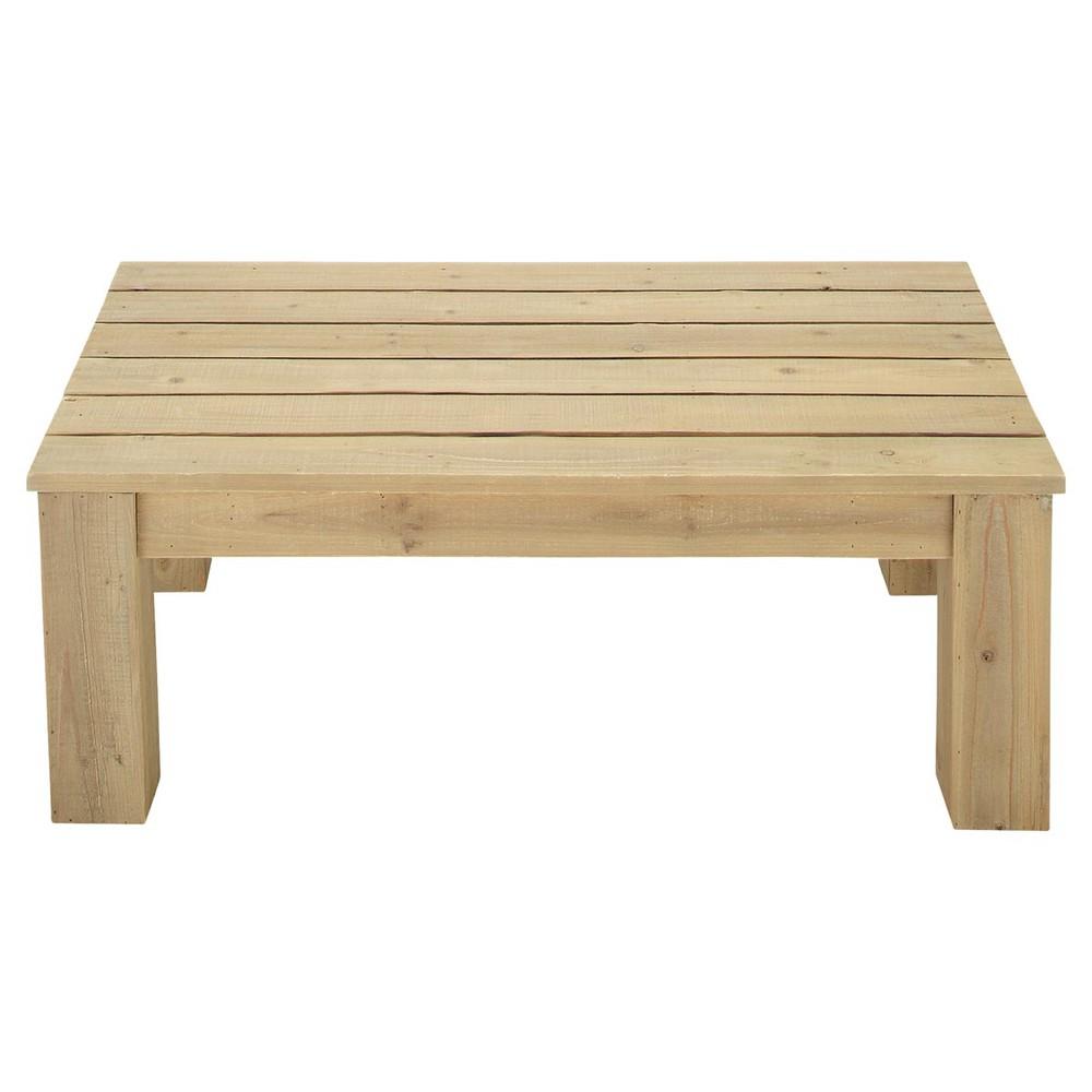 Mesa baja de jard n de madera l 100 cm br hat maisons for Mesa bar de madera