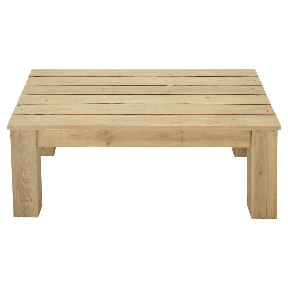 Mesa baja de jard n de madera l 100 cm br hat maisons for Mesa banco madera jardin