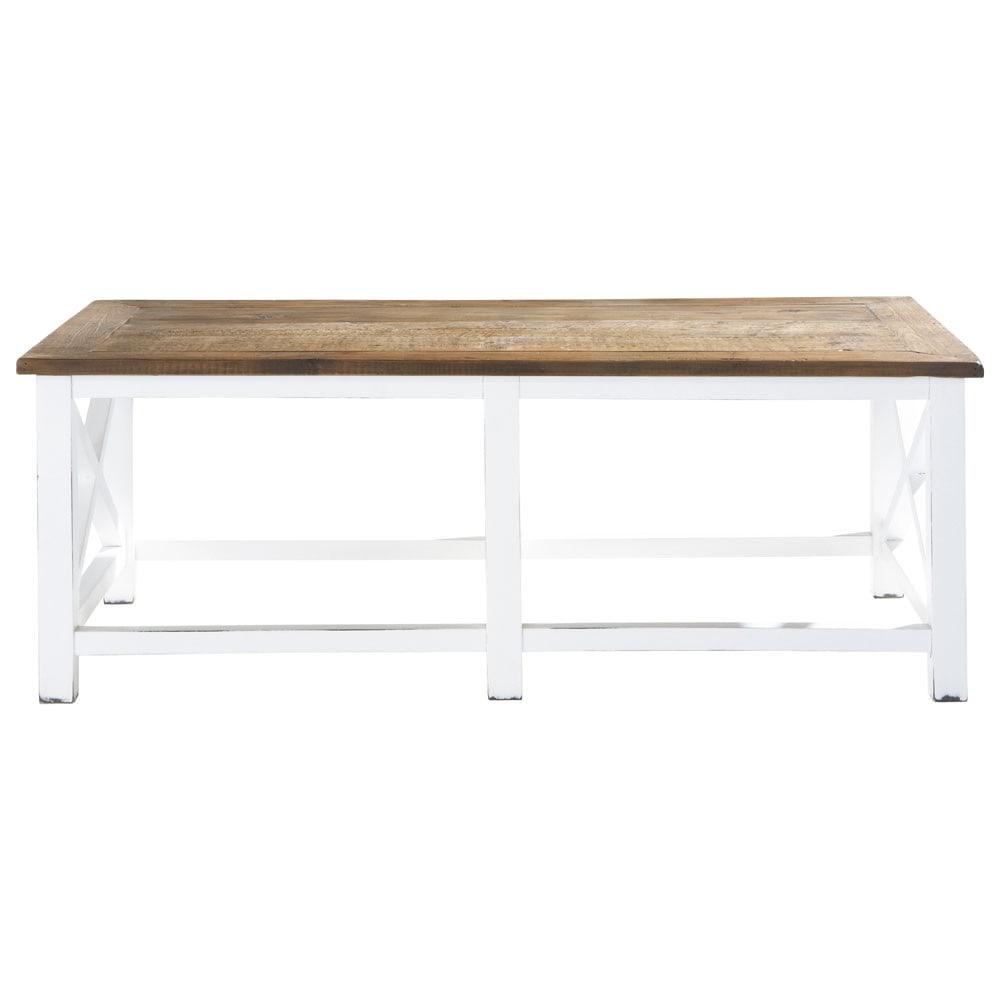 Mesa baja de madera reciclada an 120 cm sologne maisons - Mesas madera reciclada ...