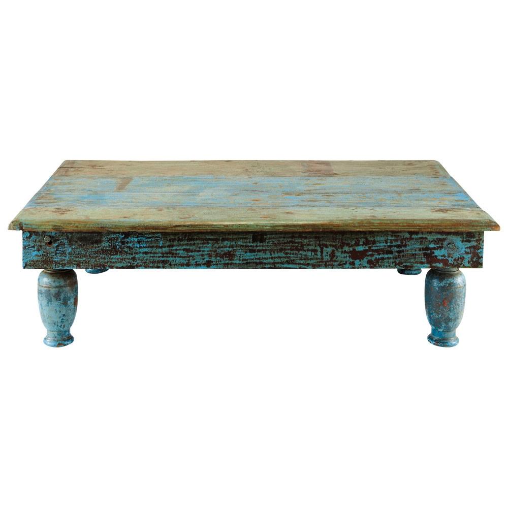 Mesa baja de madera reciclada azul efecto envejecido an for Mesas bajas de salon