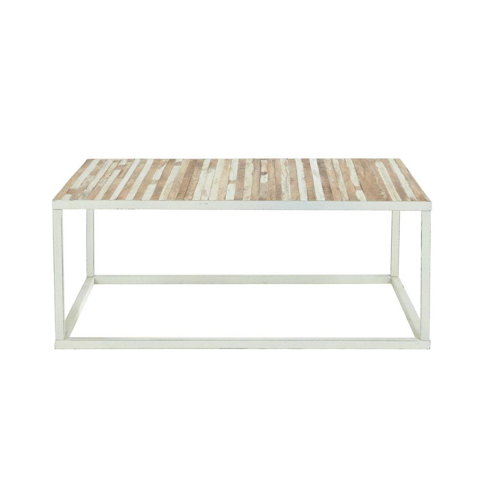 Mesa baja de metal y madera blanca an 100 cm mistral maisons du monde - Mesa blanca y madera ...