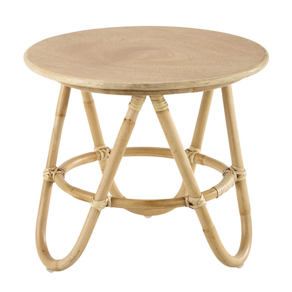Mesa baja redonda de madera y mimbre 46 cm suzane - Mesas de mimbre ...