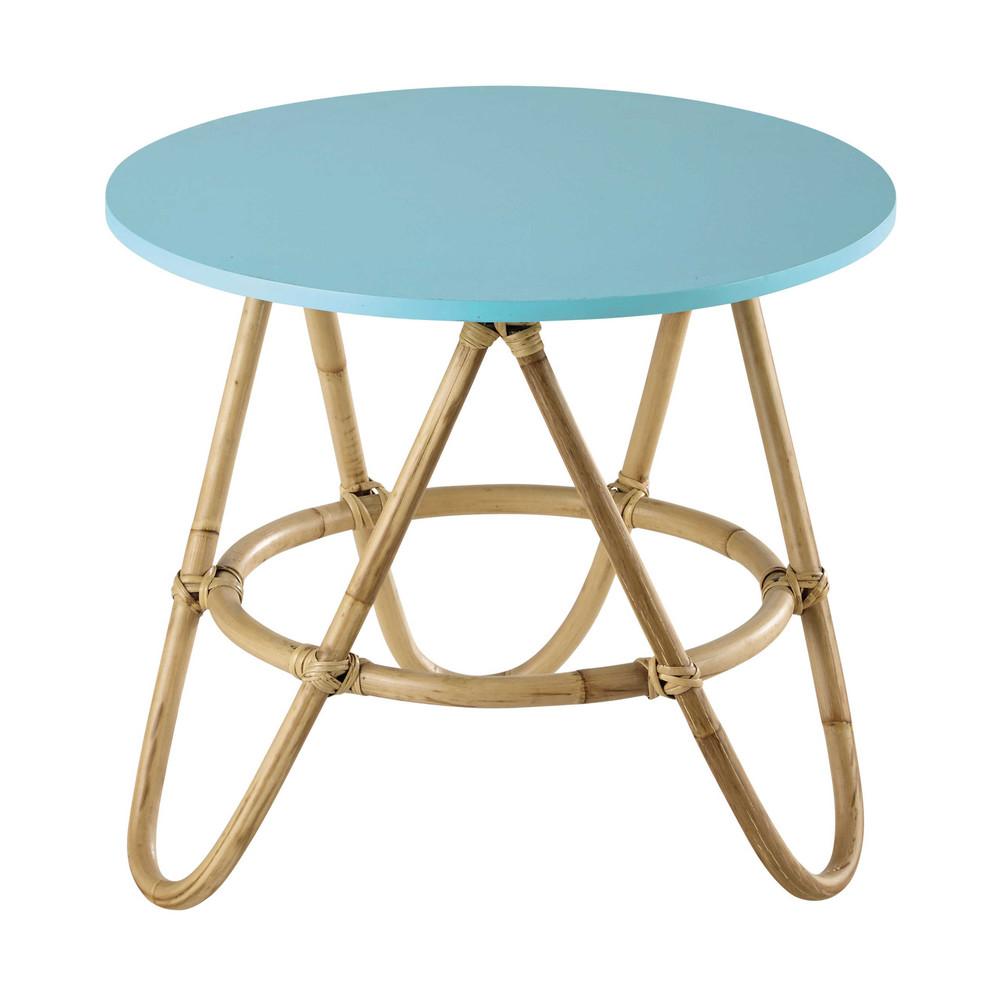 Mesa baja redonda de mimbre azul 46 cm aloha maisons du monde - Mesas de mimbre ...