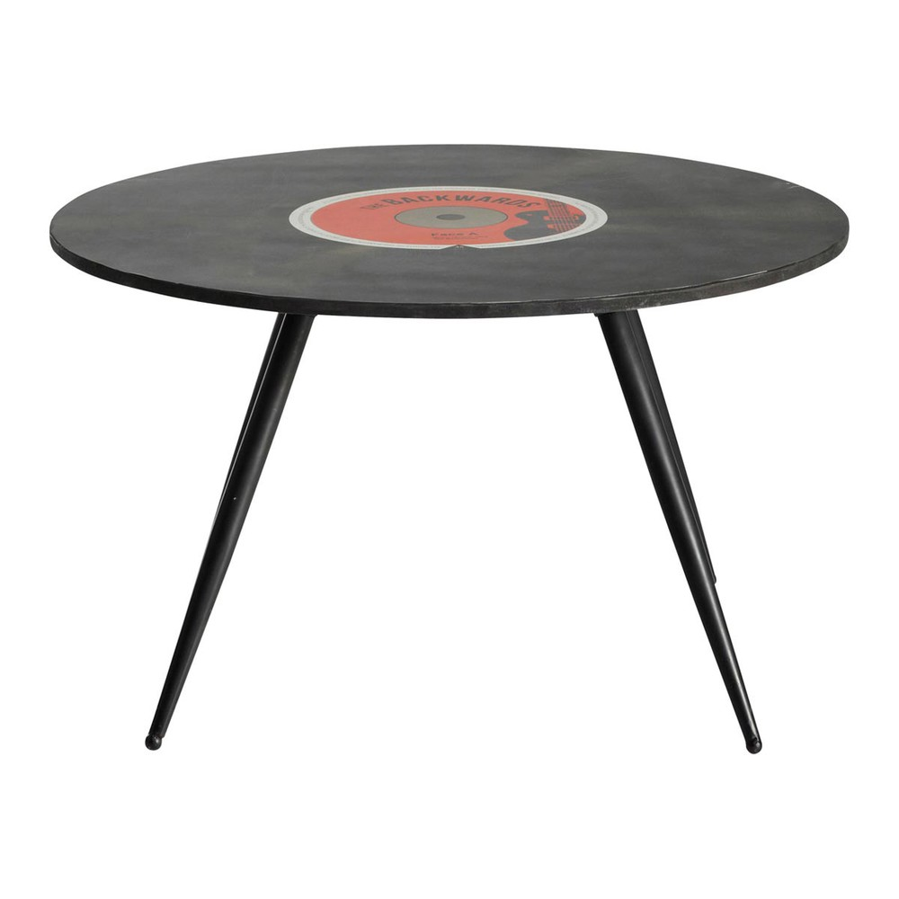Mesa baja redonda vintage de madera negra diam 70 cm - Mesa redonda vintage ...