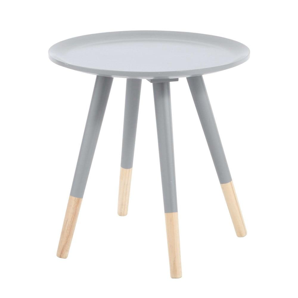 Mesa baja vintage de madera gris an 40 cm dekale for Mesas bajas de salon