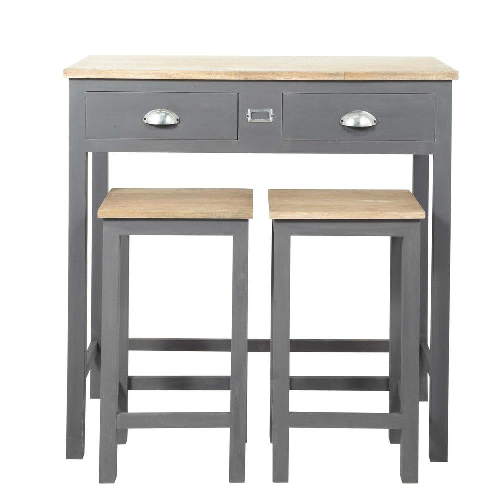 Mesa de comedor alta 2 taburetes de madera an 90 cm for Mesas de comedor altas