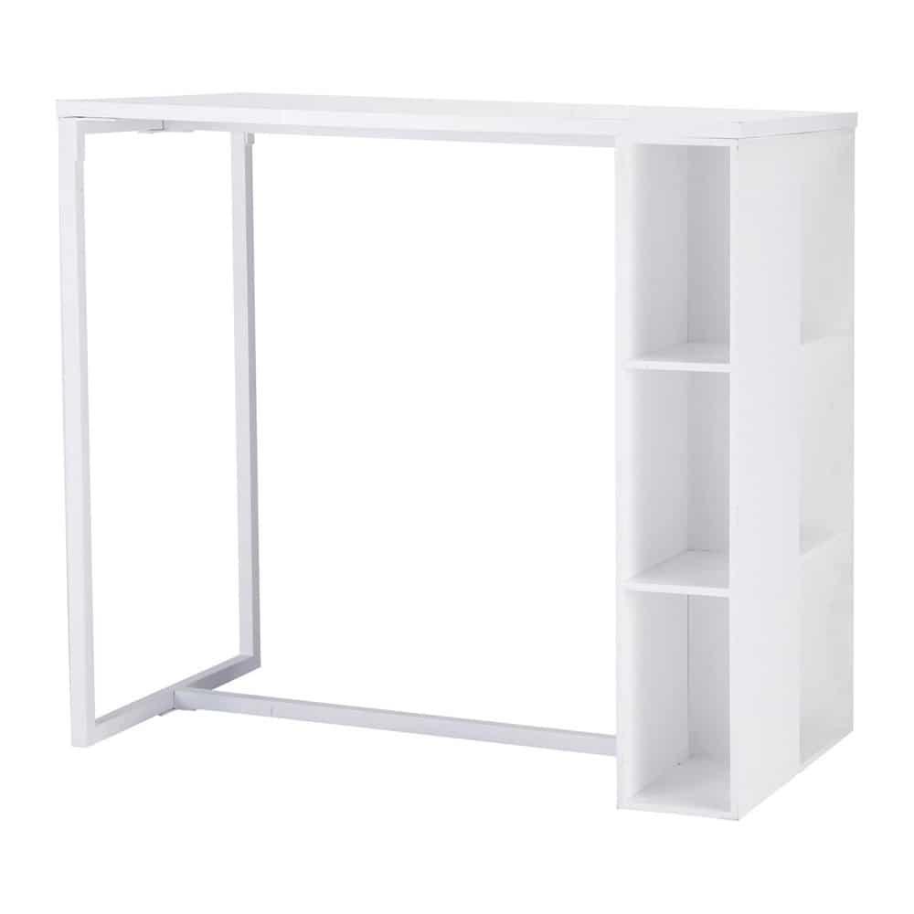 Mesa de comedor alta de madera blanca satinada an 120 cm - Mesas auxiliares maison du monde ...