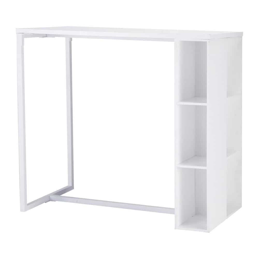 Mesa de comedor alta de madera blanca satinada an 120 cm for Mesa comedor blanca y madera