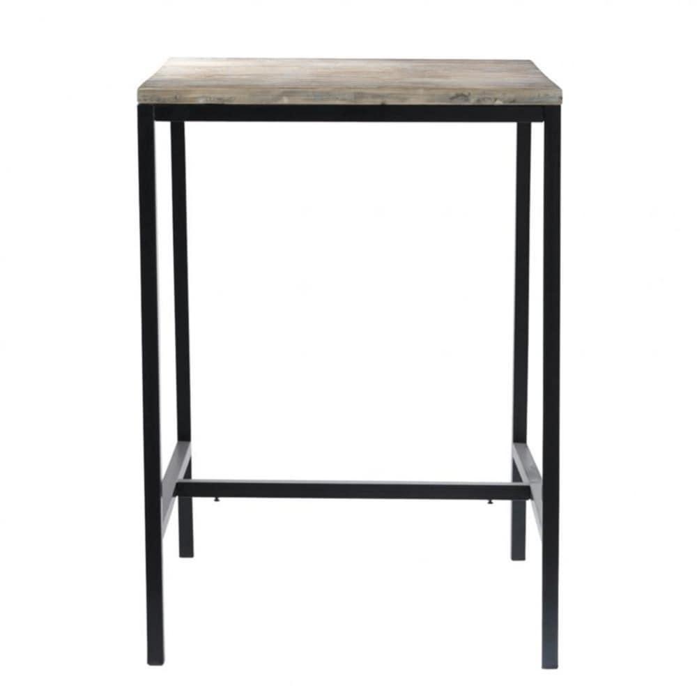 Mesa de comedor alta industrial de madera maciza y metal for Mesas de comedor altas