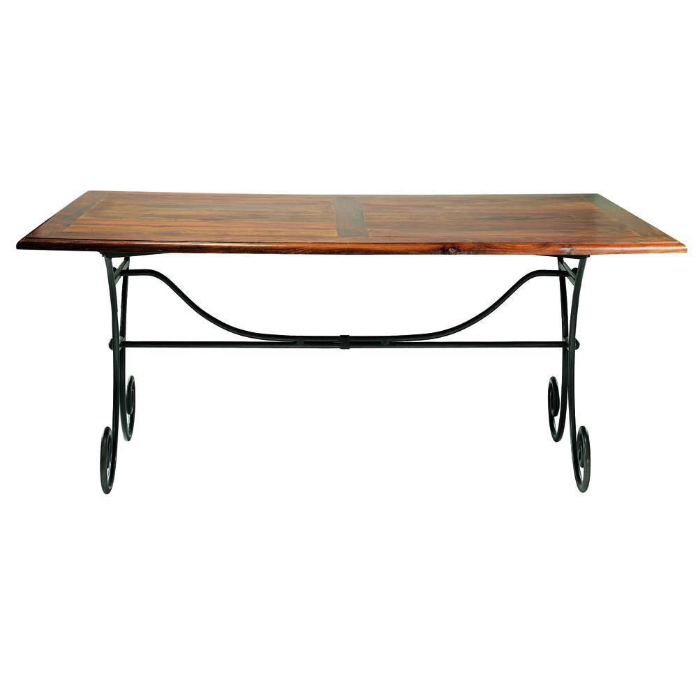 mesa de comedor de madera de maciza de palo rosa y hierro