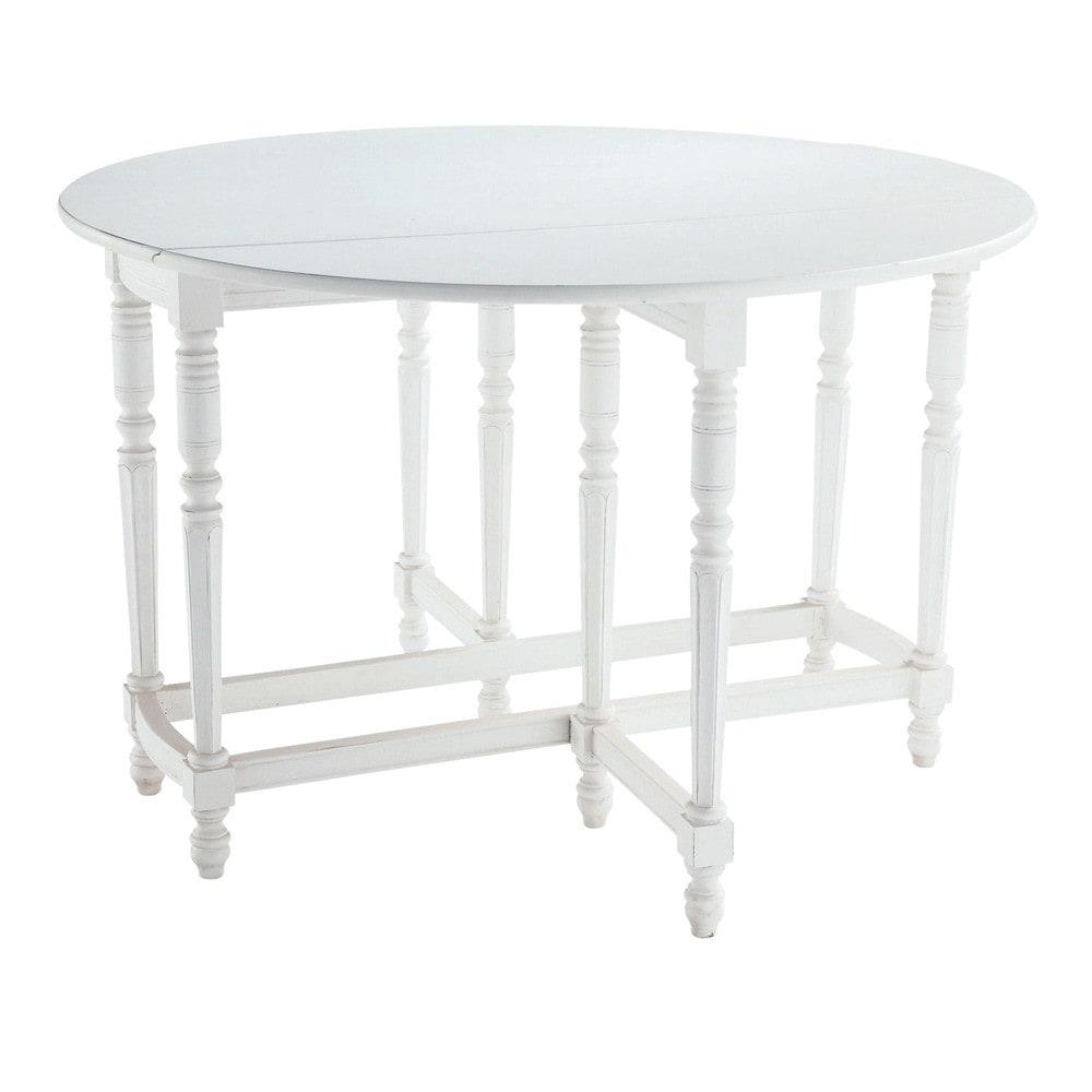 Mesa de comedor de madera maciza blanca an 120 cm for Mesa redonda blanca 120 cm