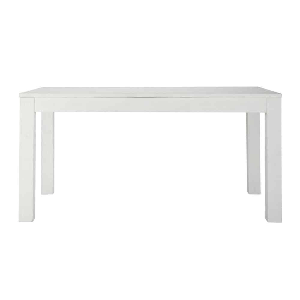 Mesa de comedor de madera maciza blanca an 160 cm white for Mesas de comedor maison du monde