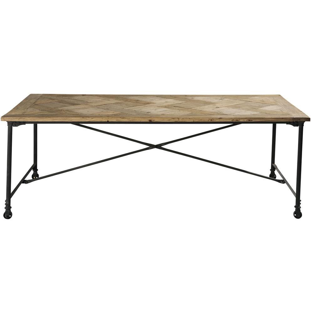 Mesa de comedor de madera y metal an 220 cm mirabeau for Mesas de comedor de madera y metal