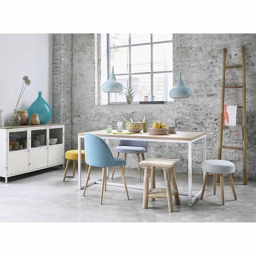 Mesa de comedor de madera y metal blanca An. 150cm