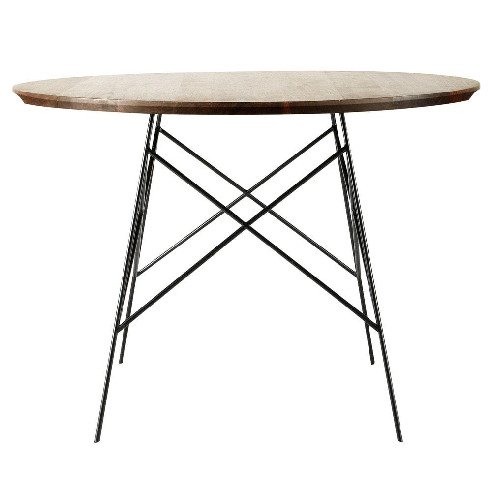 Mesa de comedor de roble macizo y metal an 120 cm berkley for Mesas de comedor maison du monde