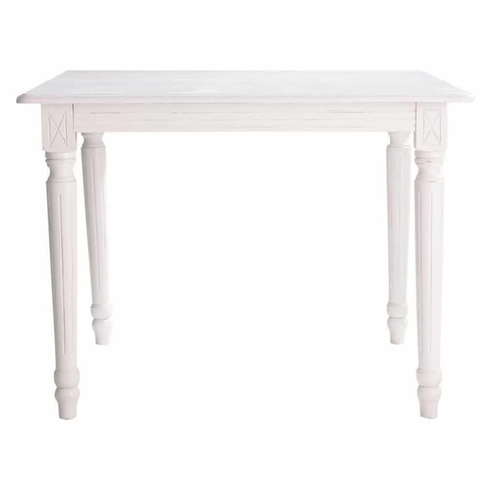 Mesa de comedor extensible de madera blanca an 100 cm for Mesa de comedor redonda extensible blanca