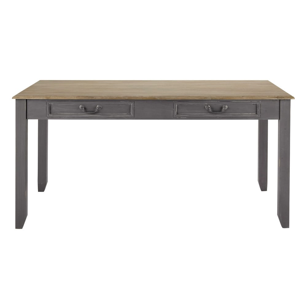 Mesa de comedor extensible de madera gris an 160 cm - Mesa madera extensible comedor ...