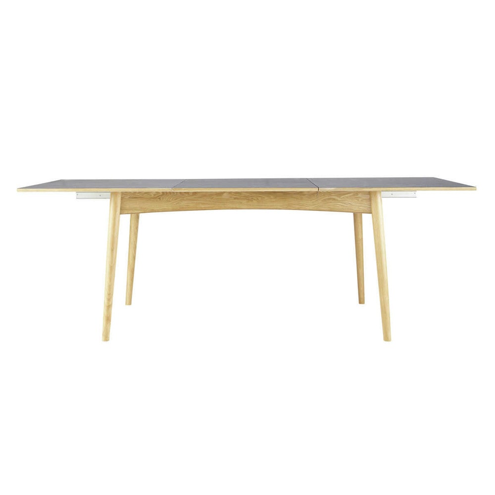 Mesa de comedor extensible de madera gris antracita an - Mesa madera extensible comedor ...