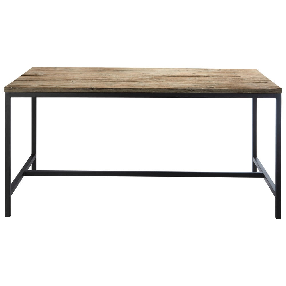 Mesa de comedor industrial de abeto macizo y metal long for Mesas comedor metal