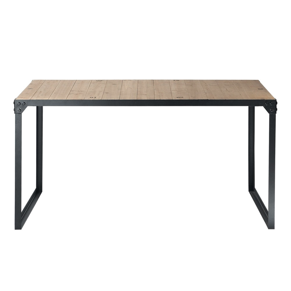 Mesa de comedor industrial de madera y metal an 140 cm for Mesas de comedor maison du monde