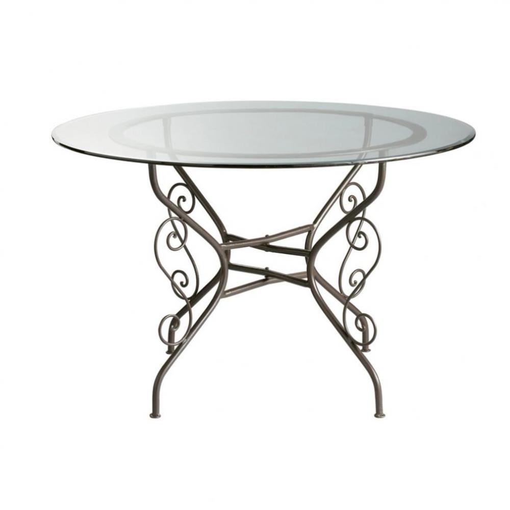Mesa de comedor redonda de cristal y hierro forjado diam for Sillas comedor maison du monde