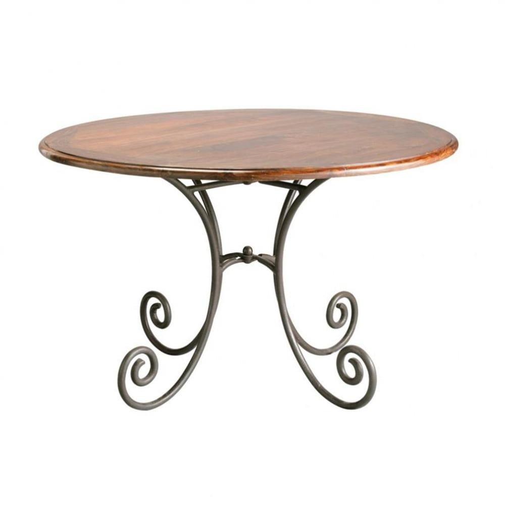 Mesa de comedor redonda de madera de maciza de palo rosa y for Mesas de hierro forjado y madera