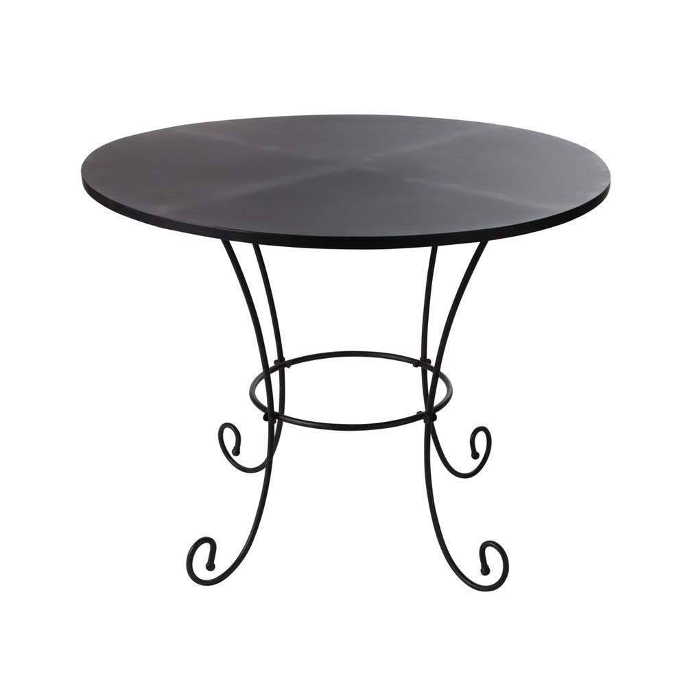 Mesa de jard n de metal y hierro forjado negra d 100 cm for Mesas de jardin de hierro