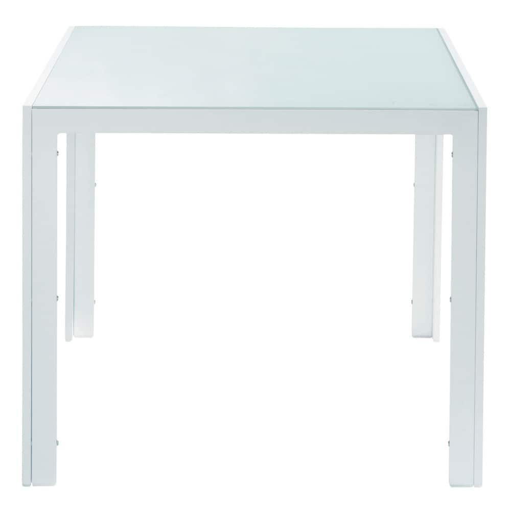 Mesa de jard n de vidrio templado y aluminio blanca l 90 for Mesas de comedor de cristal y aluminio