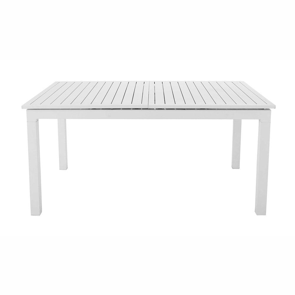 Mesa de jard n extensible de aluminio blanco l 160 a 210 for Mesa jardin extensible