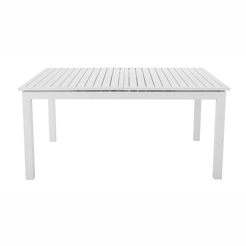 Mesa de jard n extensible de aluminio blanco l 160 a 210 - Mesas de jardin de aluminio ...