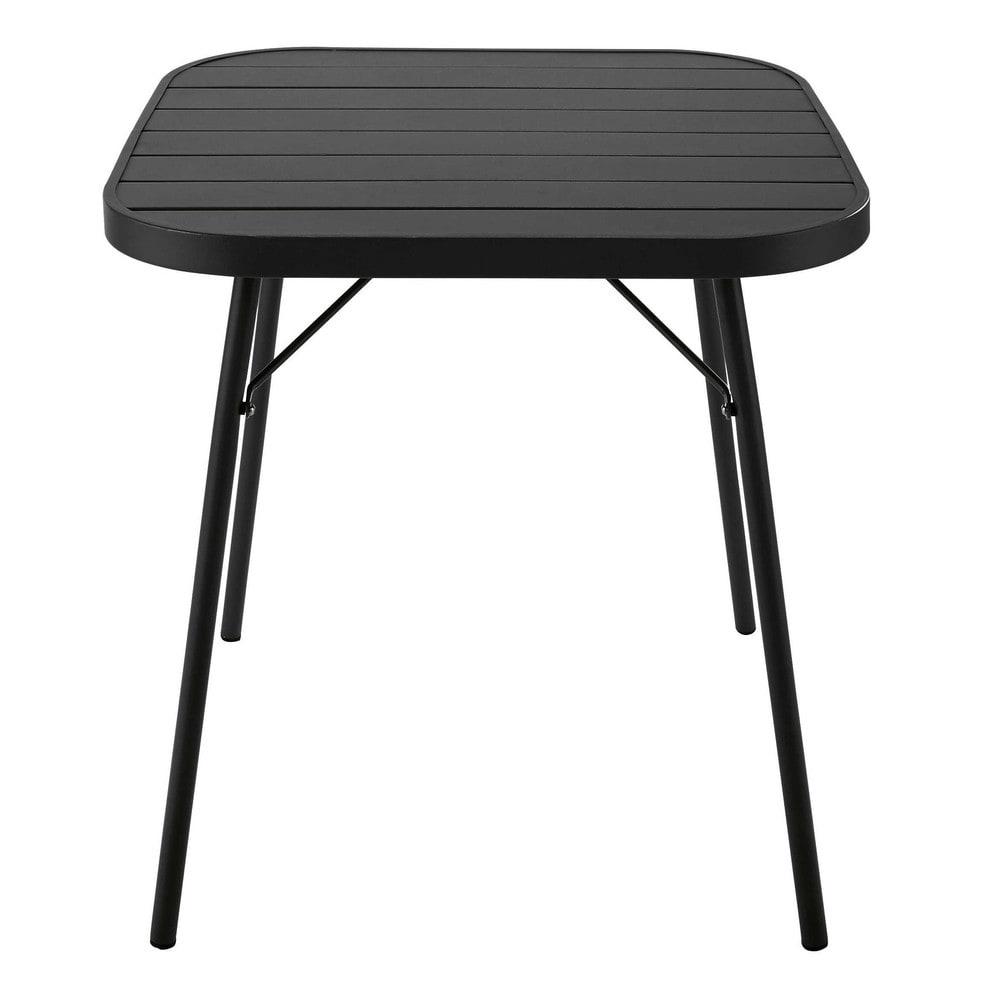Mesa de jard n plegable de metal negro l 70 cm soledad for Mesa jardin plegable