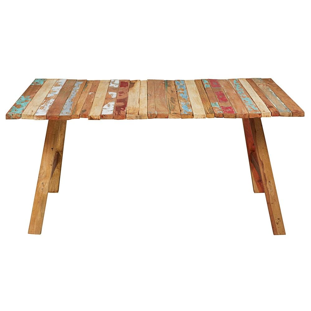 Mesa de madera reciclada de colores l 180 cm coachella - Mesas madera reciclada ...