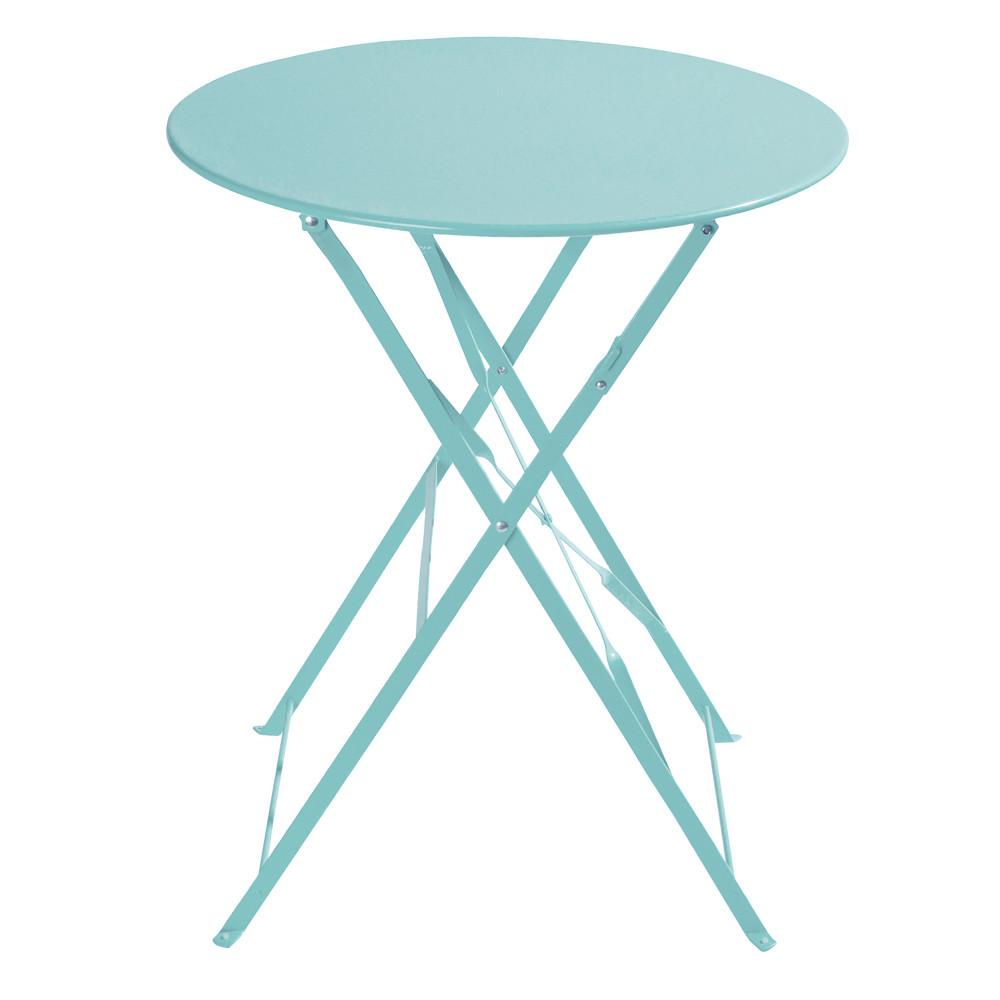 Mesa plegable de jard n de metal turquesa d 58 cm - Petite table de terrasse ...
