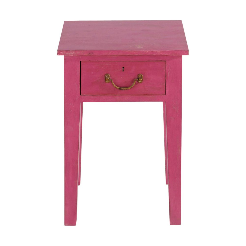 Mesilla de noche rosa de madera reciclada marjolaine - Mesillas de noche maison du monde ...