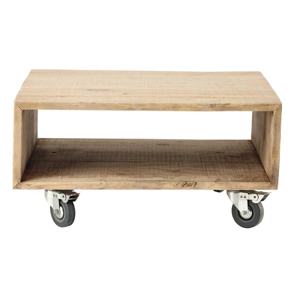 Mesita de madera con ruedas nicolas maisons du monde - Mesita auxiliar con ruedas ...
