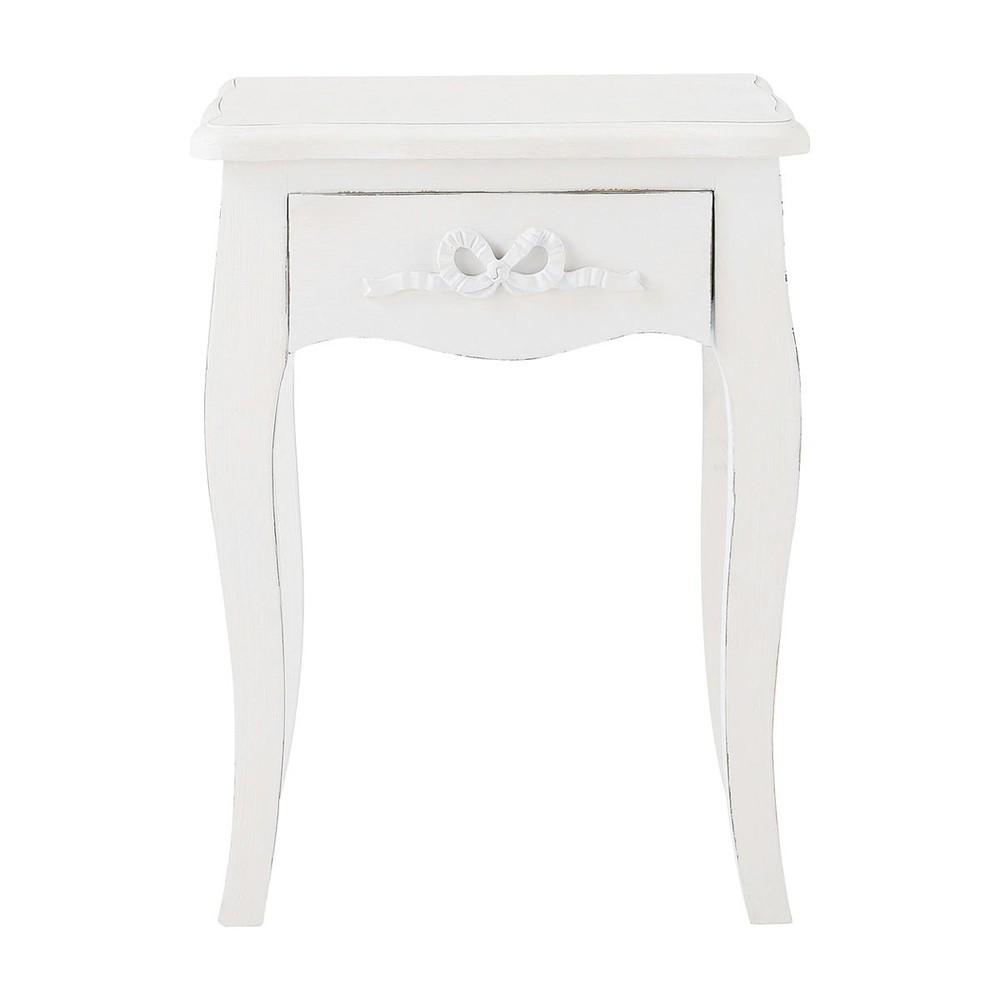 Mesita de noche con caj n de madera blanca 40 cm de largo for Mesitas de noche maison du monde