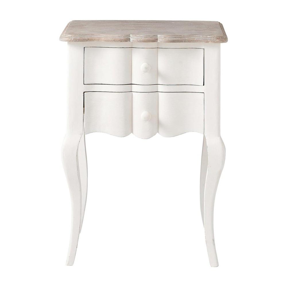 mesita de noche con cajones de madera de mango blanca 48 cm de largo martigues maisons du monde. Black Bedroom Furniture Sets. Home Design Ideas