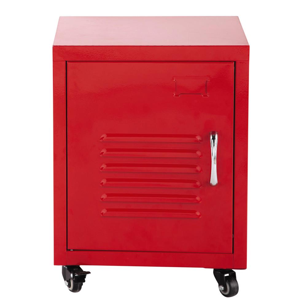 Mesita de noche con ruedas de metal roja an 37 cm loft for Mesita de noche pared