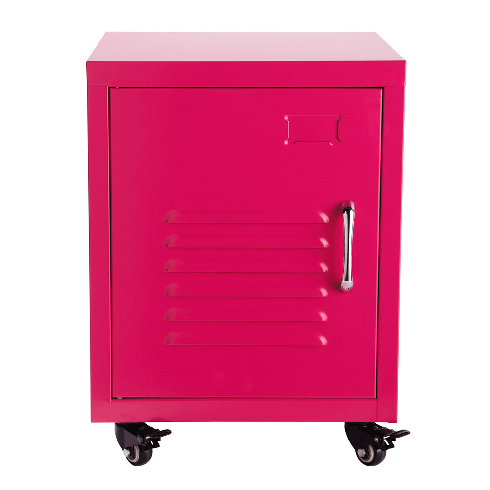 Mesita de noche con ruedas de metal rosa an 37 cm loft for Mesitas de noche maison du monde
