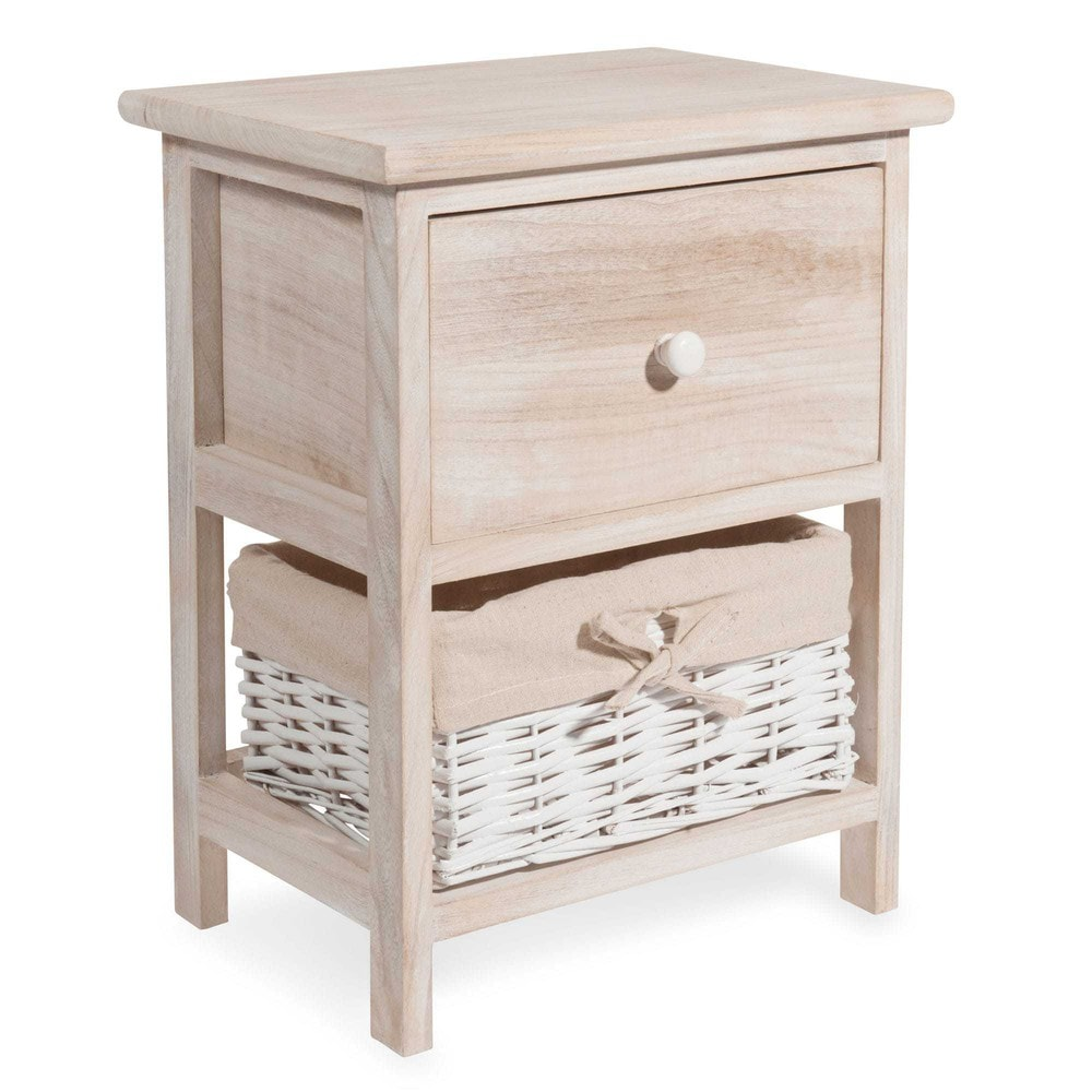 Mesita de noche de madera anch 34 cm laure maisons du monde for Mesitas de noche 30 cm