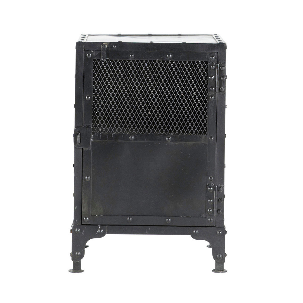 Mesita de noche industrial de metal negra 40 cm de largo for Mesitas de noche negras
