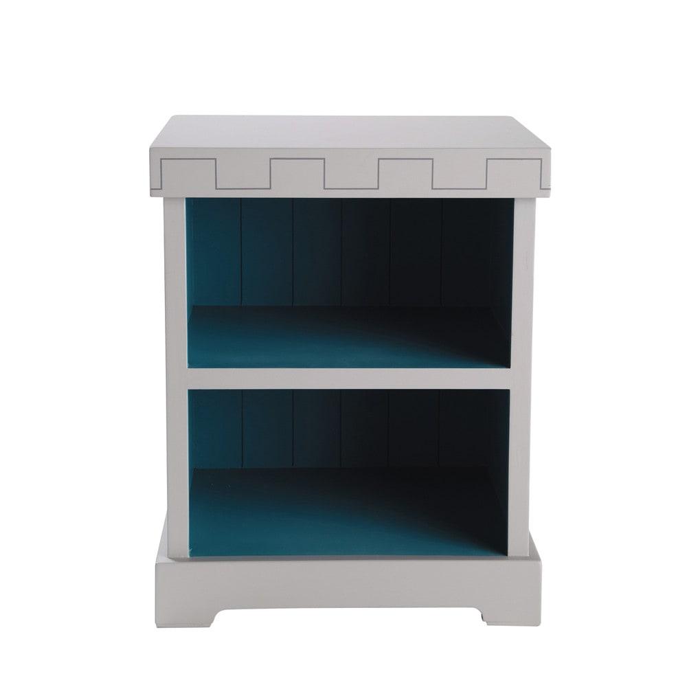 Mesita de noche infantil de madera gris y azul an 40 cm for Mesitas de noche 40 cm