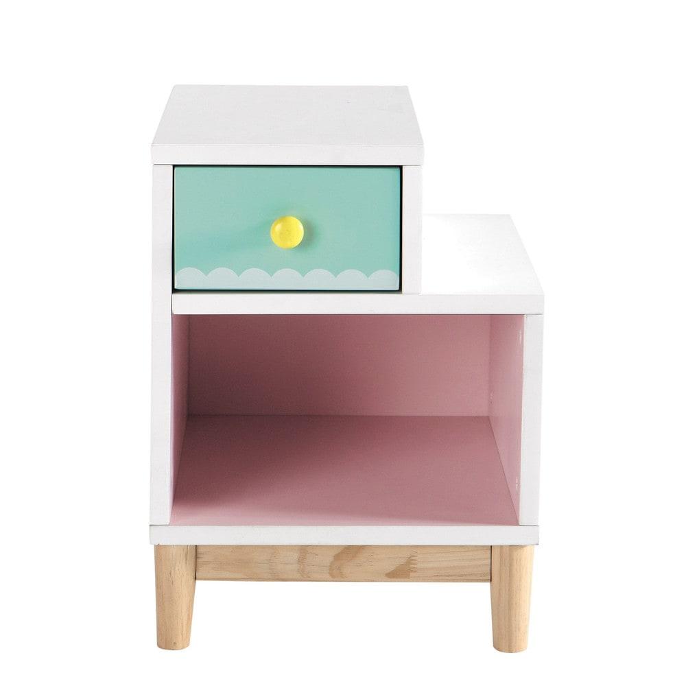 Mesita de noche infantil de madera rosa l 40 cm berlingot - Mesitas de noche de madera ...