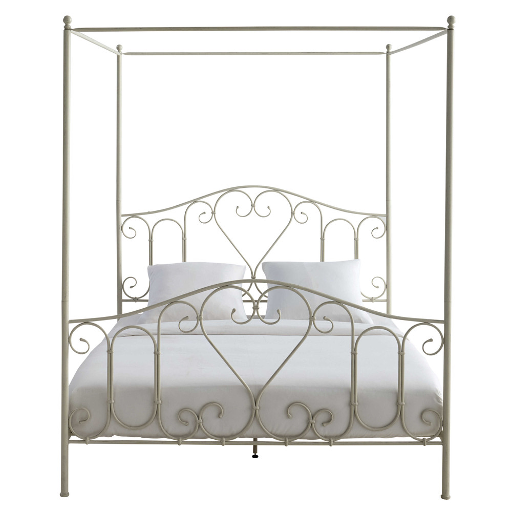 Metal 160 X 200cm King Size Four Poster Bed In Ivory