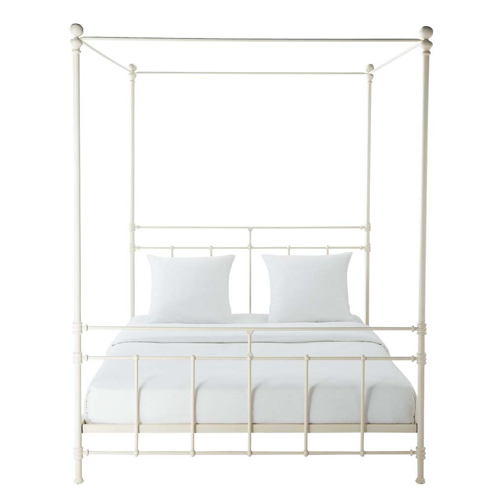 metal 160 x 200cm king size four poster bed in white syracuse maisons du monde. Black Bedroom Furniture Sets. Home Design Ideas