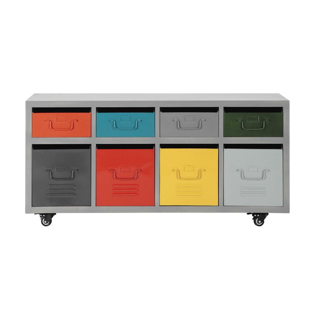 Metal 8 Drawer Cabinet On Castors Multicoloured W 124cm