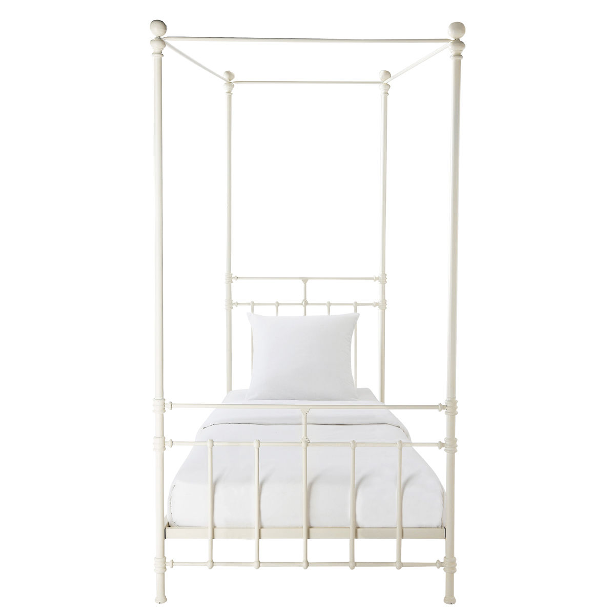 Metal 90 X 190cm Four Poster Bed In White Syracuse Maisons Du Monde