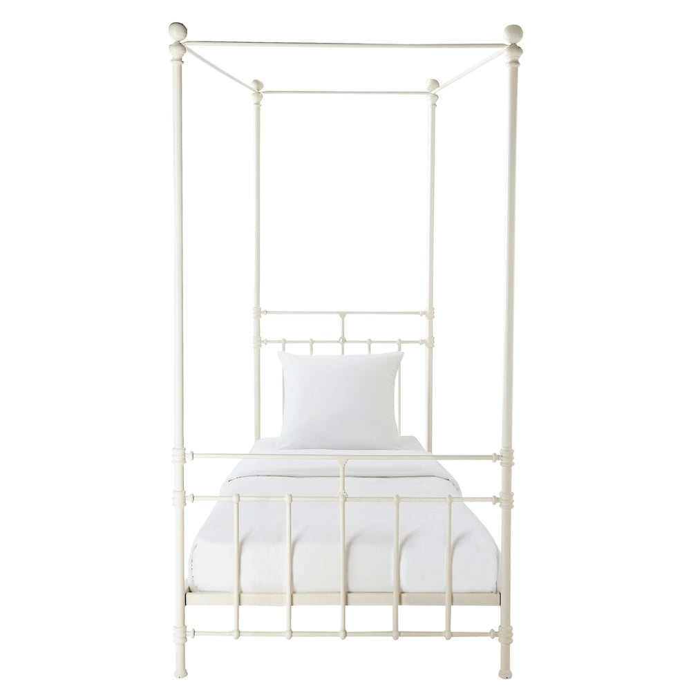 Metal 90 X 190cm Four-poster Bed In White Syracuse